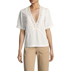 A.L.C. Annora White Lace Up Silk Top Blouse